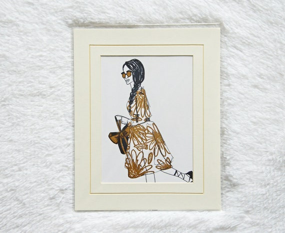 Golden Girl Floral Dress 5x7 Illustration with 8x10 Mat
