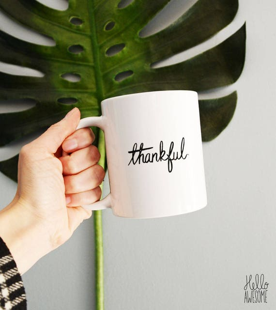 Thankful Script Font Positive Coffee Mug
