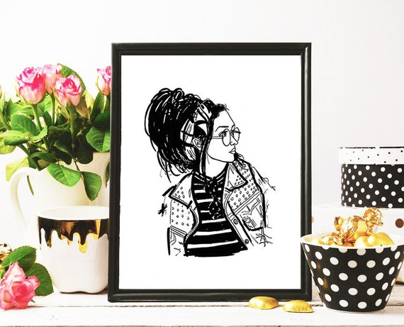 Striped Bandit Illustration Print