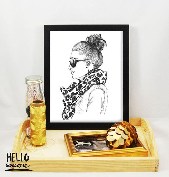 It's Time Topknot Bun Modest Fashion Illustration Print