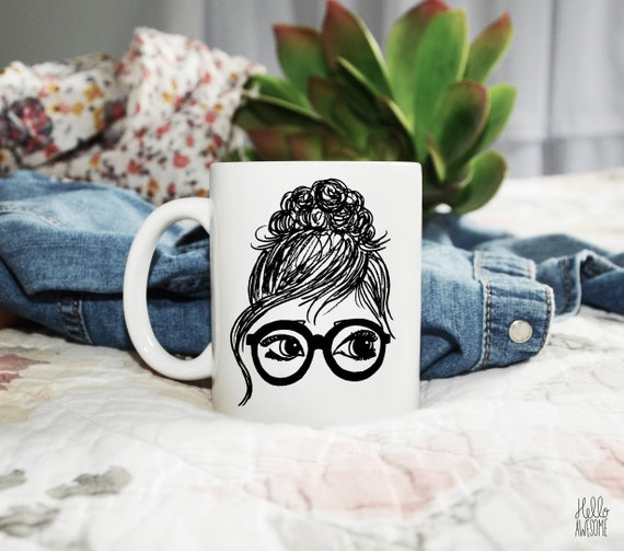 Bridgette Glasses Girl Topknot Illustration Coffee Mug