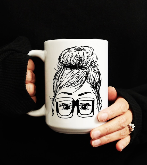 Jackie Glasses Girl Topknot Illustration Coffee Mug