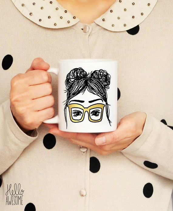 Larissa Glasses Girl Topknot Hair Buns Gold Glasses Illustration Coffee Mug