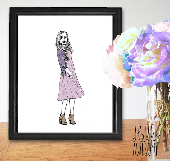 Elizabeth Modest Fashion Illustration Print
