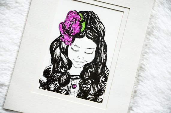 Curly Haired Beauty 5x7 Illustration with 8x10 Mat