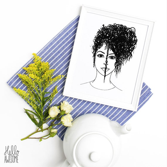 Curly Q Modest Fashion Illustration Print