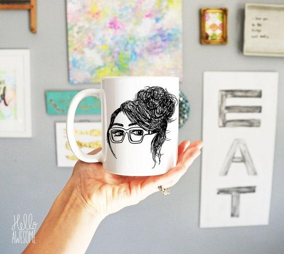 Nicole Glasses Girl Topknot Illustration Coffee Mug