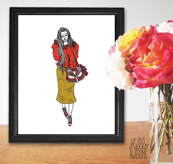 Her Name is Autumn Modest Fall Fashion Illustration Print
