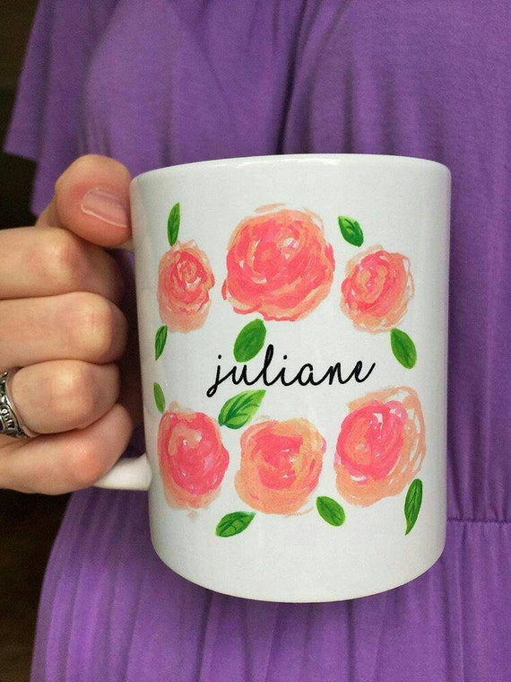 Custom Name Watercolor Roses Coffee Mug