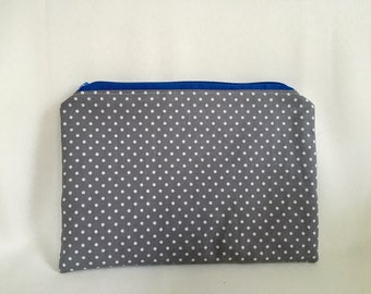 Grey/White Polka Dot Flat Zipper Pouch