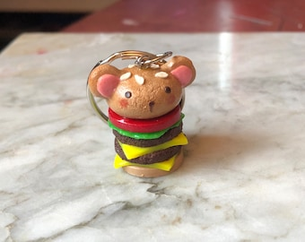Cheeseburger Bear Keychain