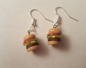 Miniature Cheeseburger Earrings