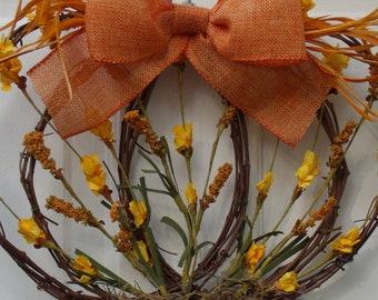 Fall wreath, Autumn wreath, pumpkin wreath, grapevine pumpkin wreath, Thanksgiving wreath