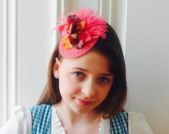Pink Fascinator,Oktoberfest,Dirndl Fascinator,Ostrich Feathered Hair Accessory,Austrian Headwear,Country Event,Wedding - Anna pink