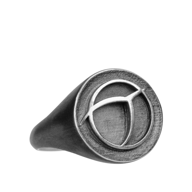 IPU signet ring oxidized Sterling Silver image 0