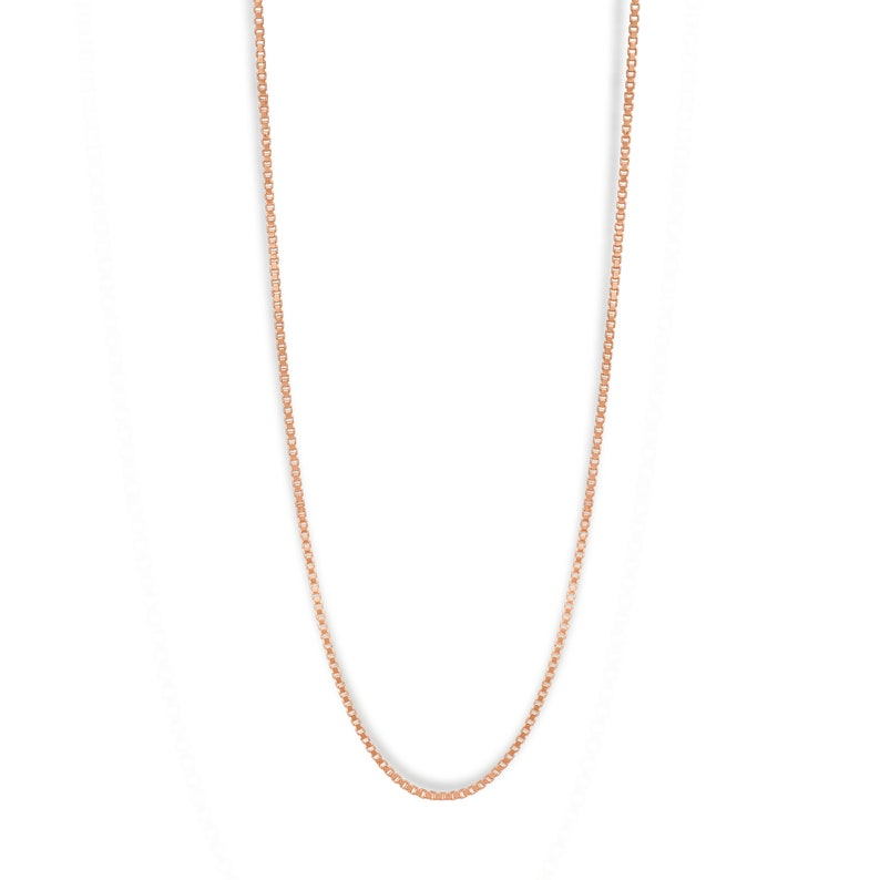 Box chain rose Gold plated Sterling Silver image 0