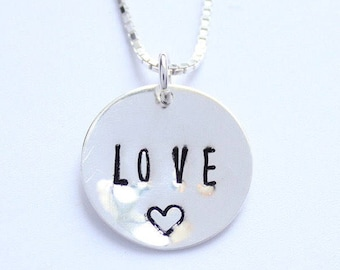 18 or 20 inch sterling silver LOVE charm necklace
