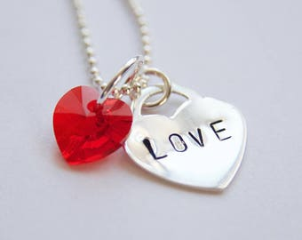 Heart lock sterling silver LOVE pendant necklace with Swarovski crystal charm