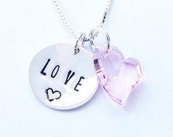 Sterling silver LOVE charm necklace with Swarovski crystal heart charm
