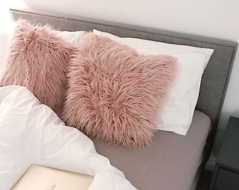 nude pink dark blush mongolian faux fur double sided supersoft scatter cushion pillow 45cmx45cm bedroom couch sofa lounge nursery - Mongolian Faux Fur Pillow