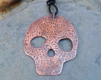 7b4f2aa37 Sugar skull pendant, copper pendant, skull pendant, halloween jewelry, copper  skull pendant
