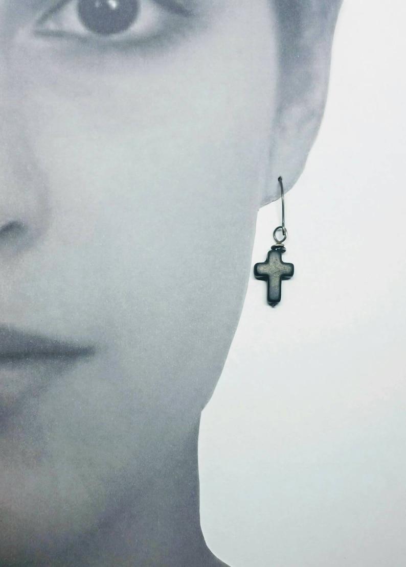 Cross earrings,cross drop earrings simple cross,mens jewelry,mens cross earrings,gothic cross earrings,black cross earrings,goth jewelry