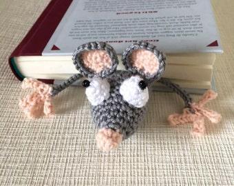Crochet Bookmark, Funny bookmark, Handmade cute Bookmark, Crochet Rat, Crochet Mouse