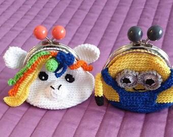 Crochet kids coin purse clasp, Cute wallet, Blue small purse