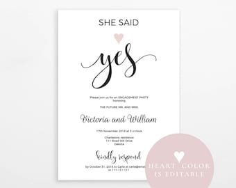 She said yes Engagement party invitation, Engagement template, rustic engagement party, printable engagement invitation, instant download