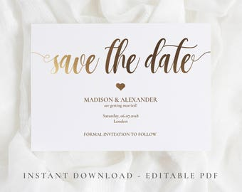 Save the Date template,Gold  Save the date PDF, Printable Save the date, Gold save the date cards , Save the dates wedding, Invitation PDF