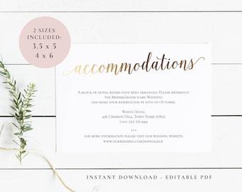 accommodation cards etsy