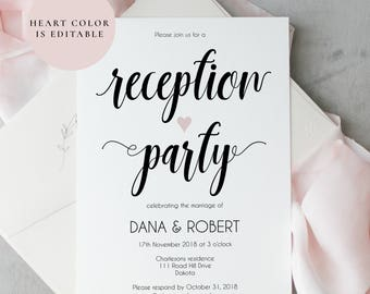 Reception invitation etsy reception party invitation wedding reception invitation template printable reception invite wedding party invitation instant download stopboris
