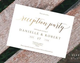 Rose Gold Wedding Reception Invitation Reception Invitation