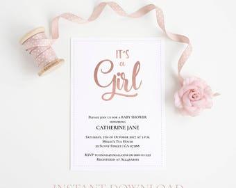 Baby Shower invitation, Baby shower invitation template, Rose gold invitation, Baby shower girl, Instant download, Editable PDF, Baby shower