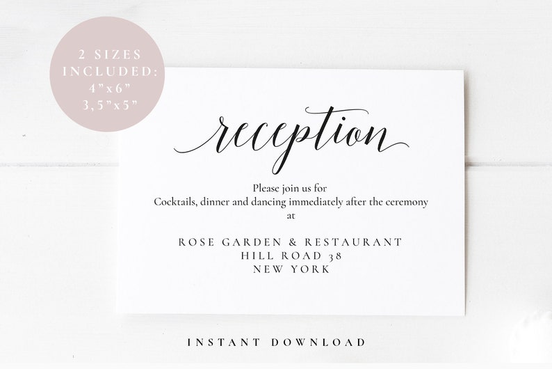 Printable Reception Card Wedding Reception Insert Card Etsy
