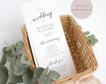 Wedding program template, Wedding ceremony program, Wedding programs, Ceremony program instant download, Printable program, Wedding ceremony