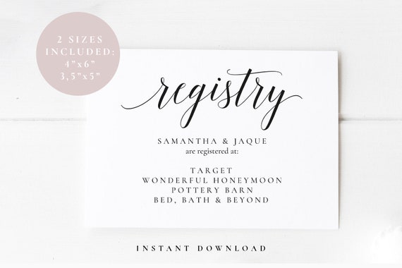 Wedding Gift Card Registry: Gift Registry Card Template Wedding Enclosure Card Bridal