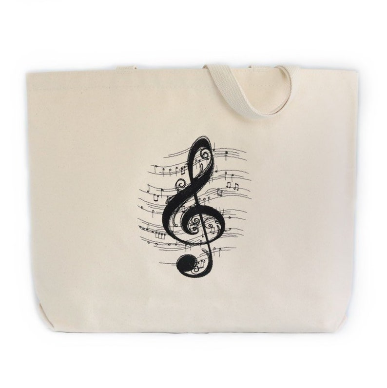 Canvas Tote Bag Embroidered Tote Bag Music Teacher Gift Music Tote Bag Treble Clef