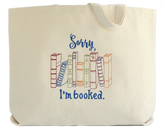 Sorry I'm Booked Tote Bag  Bookish Gifts for Women  Book