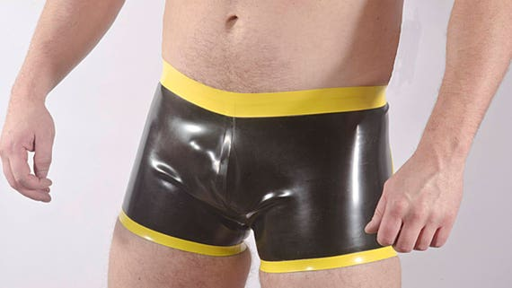 contrast waistband and edge trim 0.4 thickness latex FULL BACK RUBBER BRIEFS