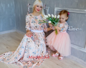 6a49672ff0 Floral Maxi Dress Mommy and Me matching dress Mommy and Me Outfits Mother  daughter matching dress Matching Mother Daughter Dress