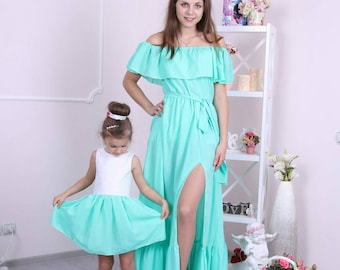 c6d5c114a98 Mother daughter cotton matching dresses