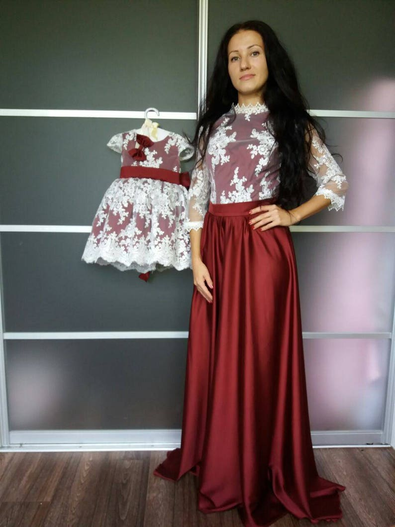 742dda3d98 Burgundy Mommy and Me Matching Dresses Mother Daughter | Etsy