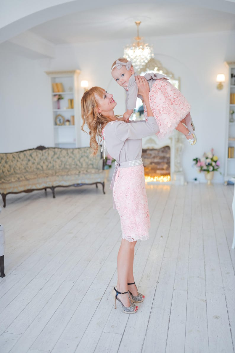 51d1860001c0 Mommy and Me matching lace dresses Pink blush Mother daughter   Etsy