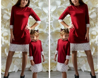 Mother daughter matching  dress Warm jersey marsala dresses, Different colors Mommy and me outfit Dress for mother and daughter Mom baby