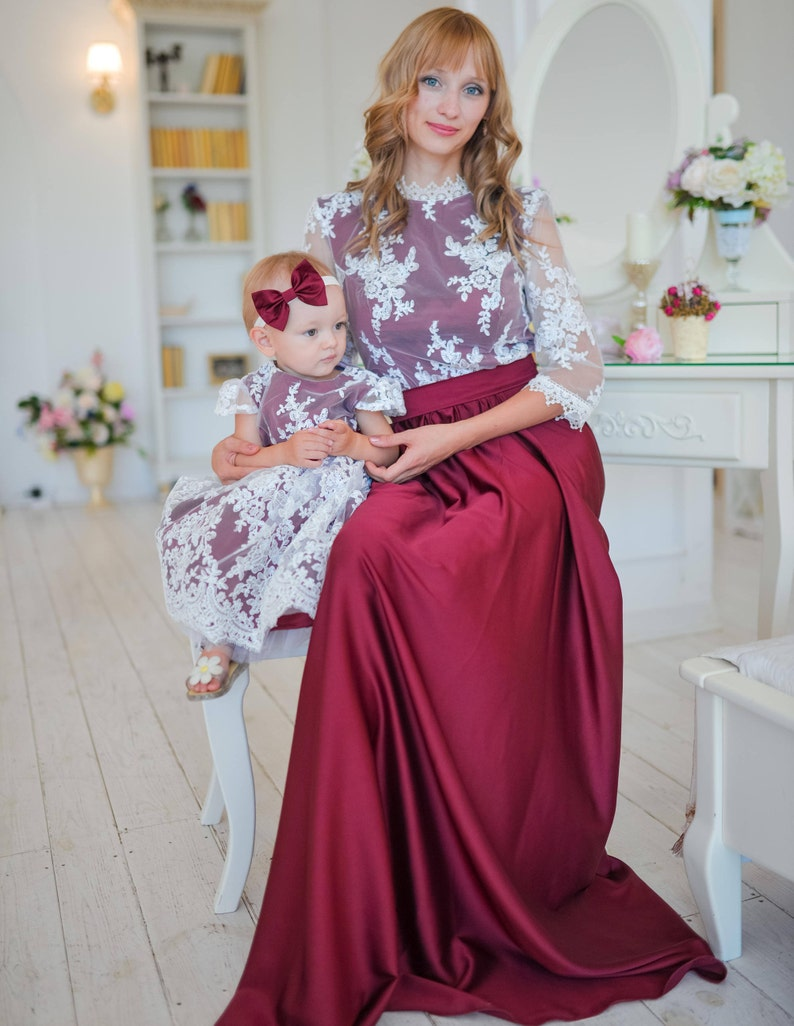8dbd393ab Burgundy Mommy and Me Matching Dresses Mother Daughter