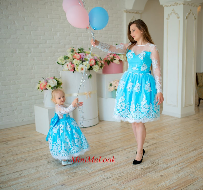 d823ef606d4be Matching mother daughter dresses, Mommy and me dresses matching outfits  Lace blue dress Wedding Birthday Dress Mommy and Me outfits