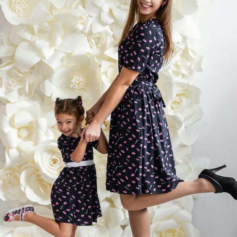 28dda9f3e Vestidos de algodón que madre hija diferentes impresiones a