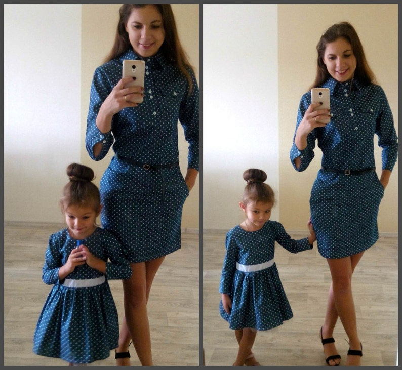 f2c92cc1b158f Cotton Denim Matching Mother daughter dresses, Different colors Midi Mommy  and me polka dot outfit Dress for mother and daughter Family look