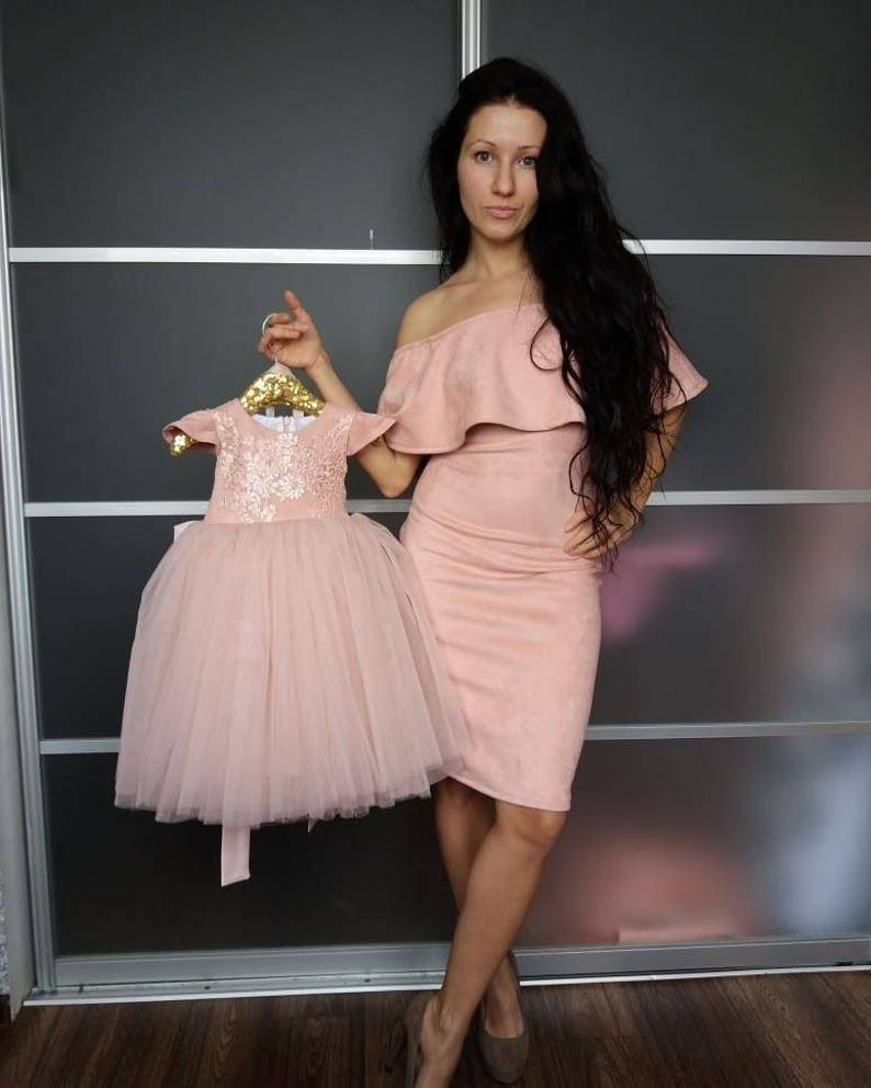 5c074df624f8 Pink Blush Suede Mommy and Me Dress Outfit for Mother Daughter   Etsy